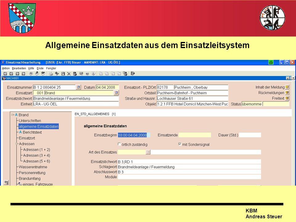 KBM Andreas Steuer Allgemeine Einsatzdaten aus dem Einsatzleitsystem