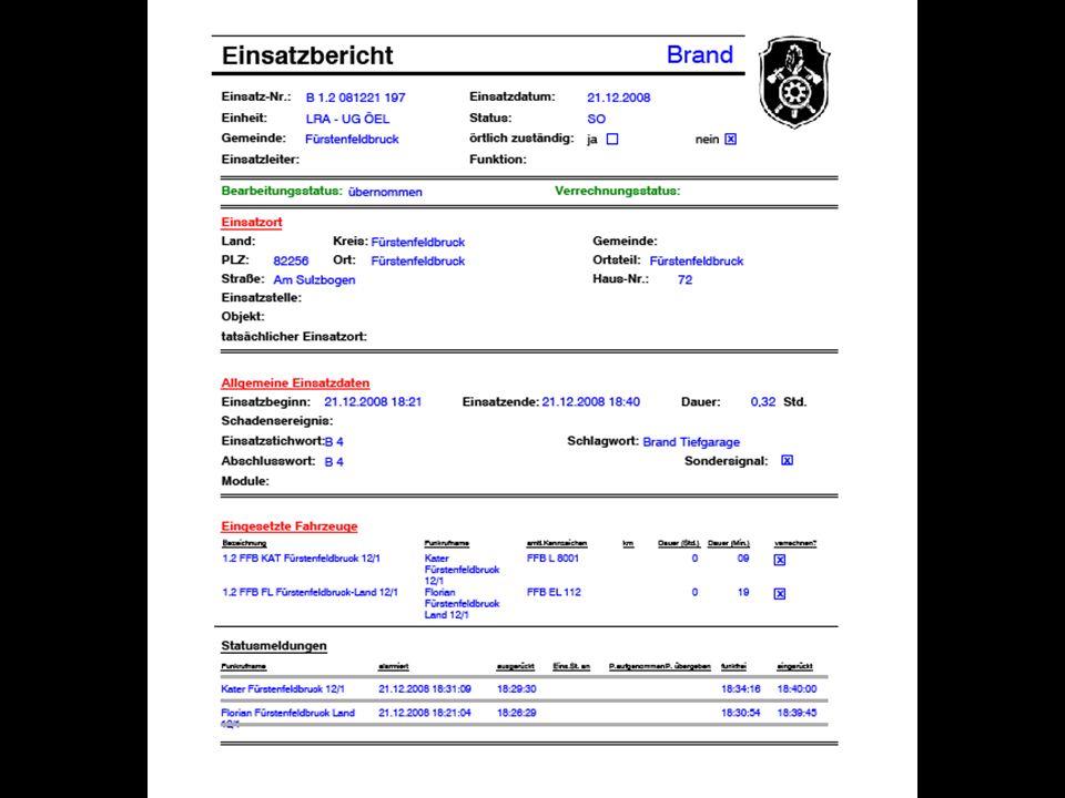 KBM Andreas Steuer Zusammenfassung der Hauptvorteile des neuen System Immer die Aktuelle Software- Version Automatische Übernahme der Einsatzdaten aus dem Einsatzleitsystem von Brand und THL Einsätzen Eingesetzte Fahrzeuge mit Statuszeiten Einzellbericht für die Feuerwehr können gespeichert (pdf) und ausgedruckt werden.
