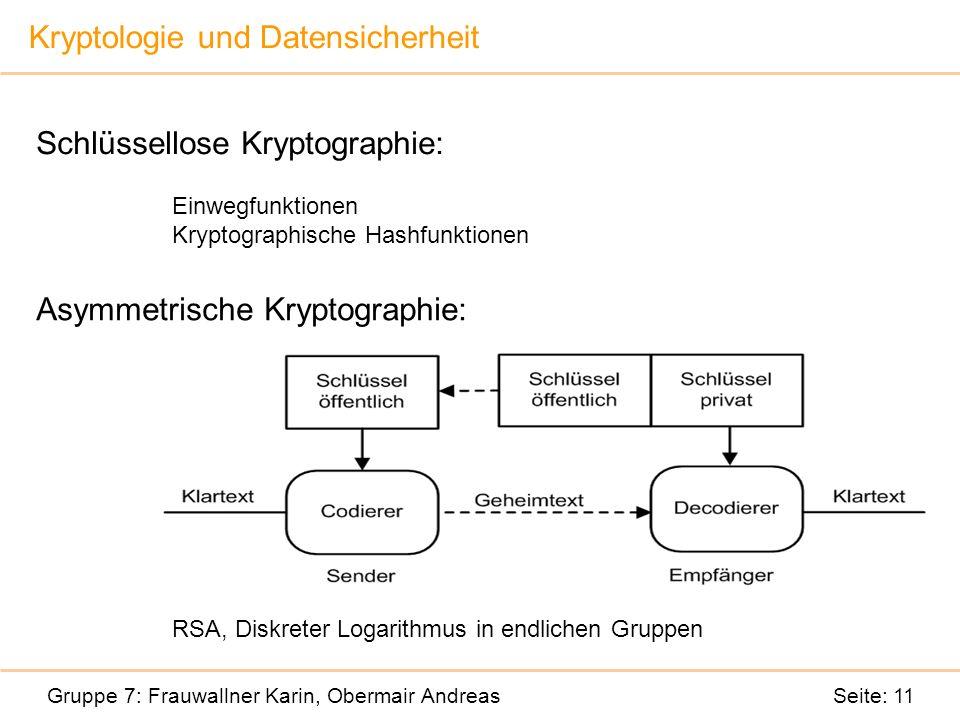 Kryptologie und Datensicherheit Gruppe 7: Frauwallner Karin, Obermair Andreas Seite: 11 Schlüssellose Kryptographie: Einwegfunktionen Kryptographische Hashfunktionen Asymmetrische Kryptographie: RSA, Diskreter Logarithmus in endlichen Gruppen