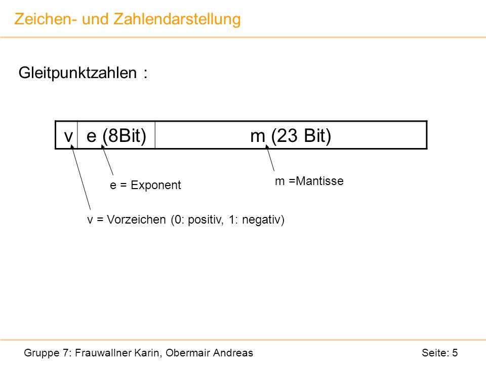 Zeichen- und Zahlendarstellung Gruppe 7: Frauwallner Karin, Obermair Andreas Seite: 5 Gleitpunktzahlen : ve (8Bit)m (23 Bit) v = Vorzeichen (0: positiv, 1: negativ) e = Exponent m =Mantisse