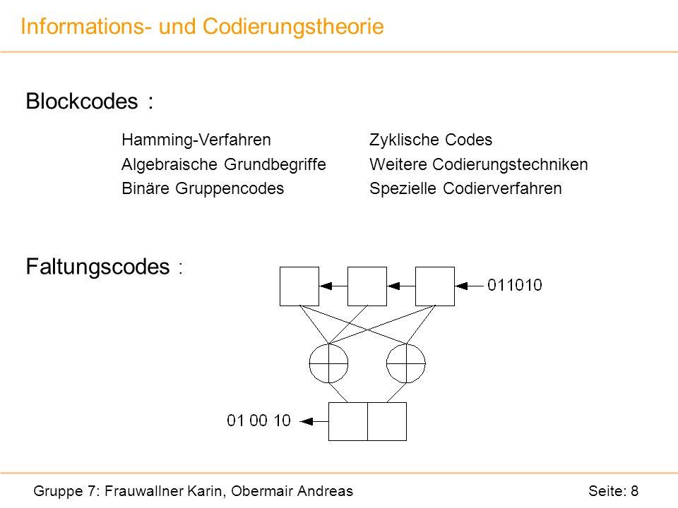 Informations- und Codierungstheorie Gruppe 7: Frauwallner Karin, Obermair Andreas Seite: 8 Blockcodes : Faltungscodes : Hamming-Verfahren Algebraische Grundbegriffe Binäre Gruppencodes Zyklische Codes Weitere Codierungstechniken Spezielle Codierverfahren