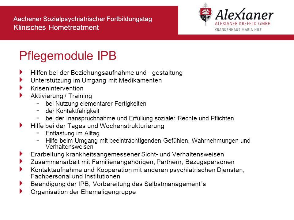 Aachener Sozialpsychiatrischer Fortbildungstag Klinisches Hometreatment Pflegemodule IPB Hilfen bei der Beziehungsaufnahme und –gestaltung Unterstützu