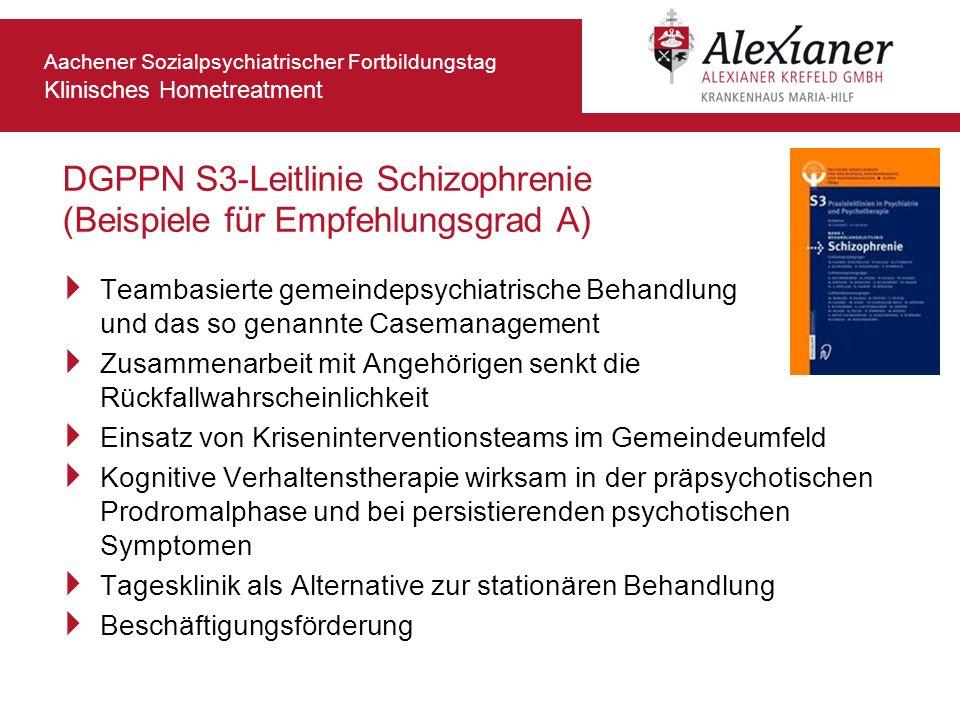 Aachener Sozialpsychiatrischer Fortbildungstag Klinisches Hometreatment DGPPN S3-Leitlinie Schizophrenie (Beispiele für Empfehlungsgrad A) Teambasiert