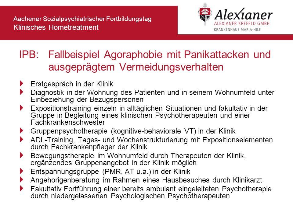 Aachener Sozialpsychiatrischer Fortbildungstag Klinisches Hometreatment IPB: Fallbeispiel Agoraphobie mit Panikattacken und ausgeprägtem Vermeidungsve