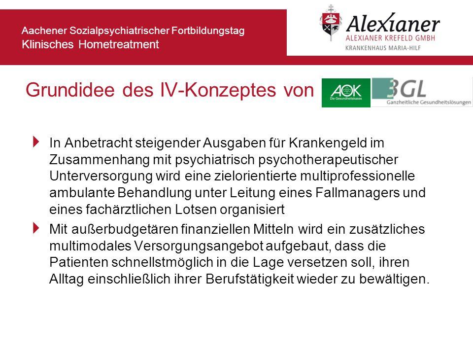 Aachener Sozialpsychiatrischer Fortbildungstag Klinisches Hometreatment Grundidee des IV-Konzeptes von In Anbetracht steigender Ausgaben für Krankenge