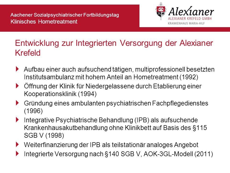 Aachener Sozialpsychiatrischer Fortbildungstag Klinisches Hometreatment Entwicklung zur Integrierten Versorgung der Alexianer Krefeld Aufbau einer auc