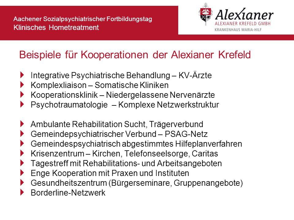 Aachener Sozialpsychiatrischer Fortbildungstag Klinisches Hometreatment Integrative Psychiatrische Behandlung – KV-Ärzte Komplexliaison – Somatische K