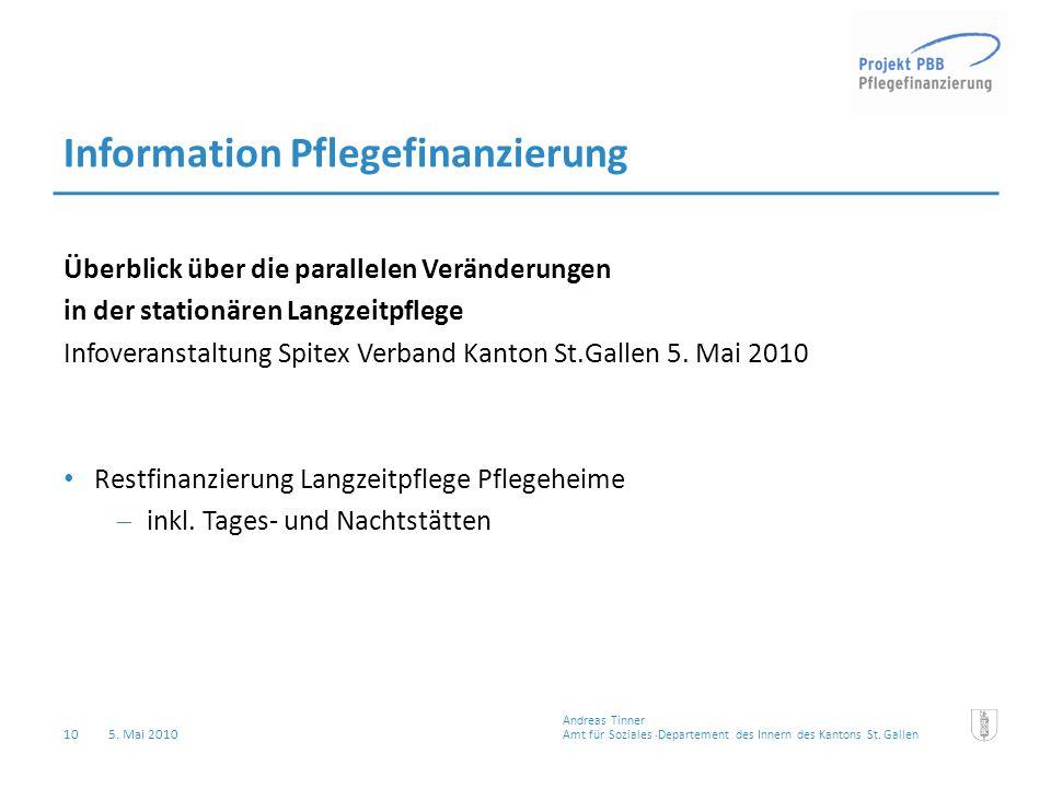 10 5. Mai 2010 Amt für Soziales Departement des Innern des Kantons St.Gallen Andreas Tinner Information Pflegefinanzierung Überblick über die parallel