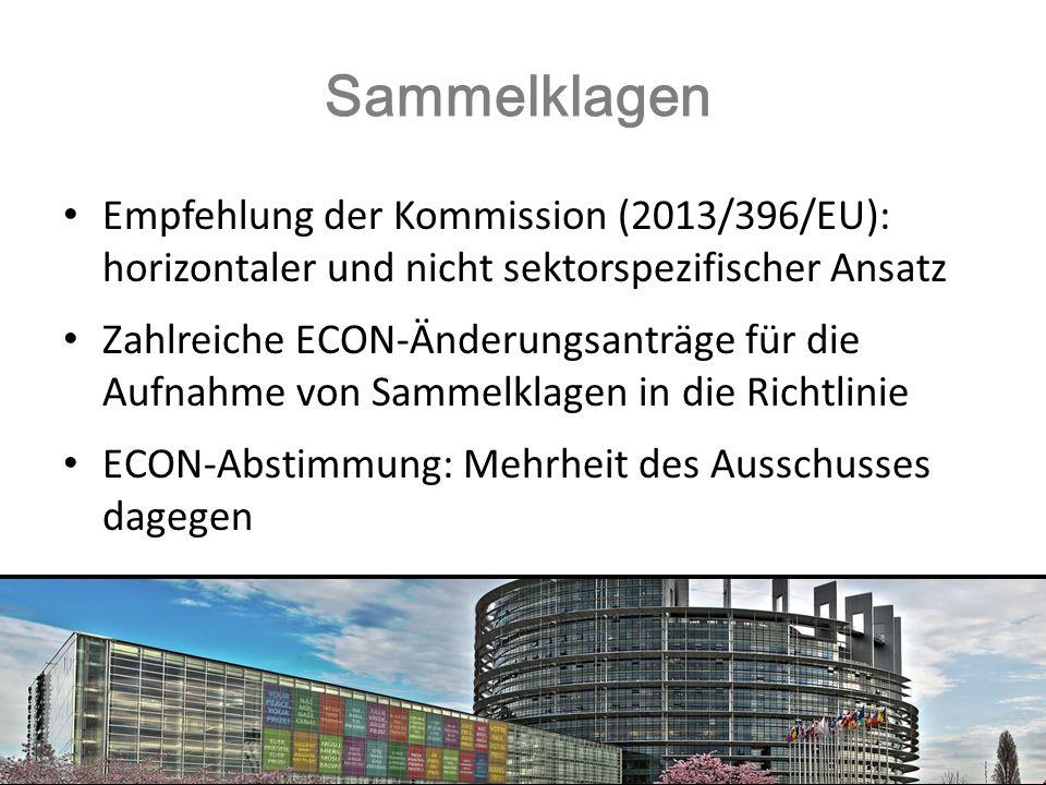 Sammelklagen Empfehlung der Kommission (2013/396/EU): horizontaler und nicht sektorspezifischer Ansatz Zahlreiche ECON-Änderungsanträge für die Aufnah