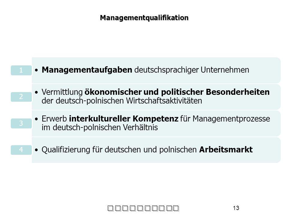 13 Managementqualifikation Managementaufgaben deutschsprachiger Unternehmen 1 Vermittlung ökonomischer und politischer Besonderheiten der deutsch-poln