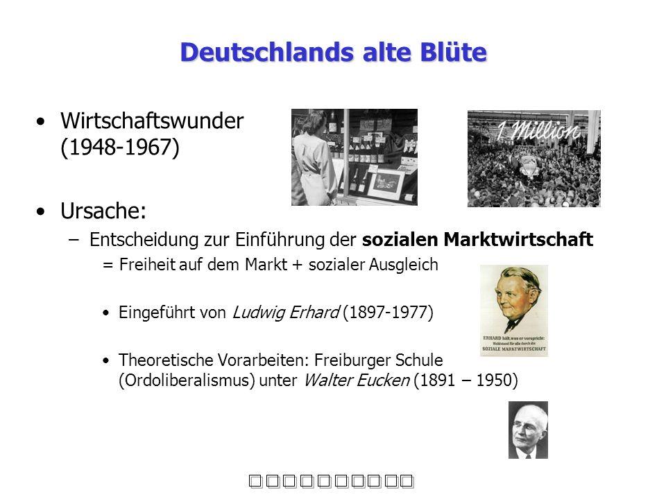 Deutschlands alte Blüte Wirtschaftswunder (1948-1967) Ursache: –Entscheidung zur Einführung der sozialen Marktwirtschaft = Freiheit auf dem Markt + so