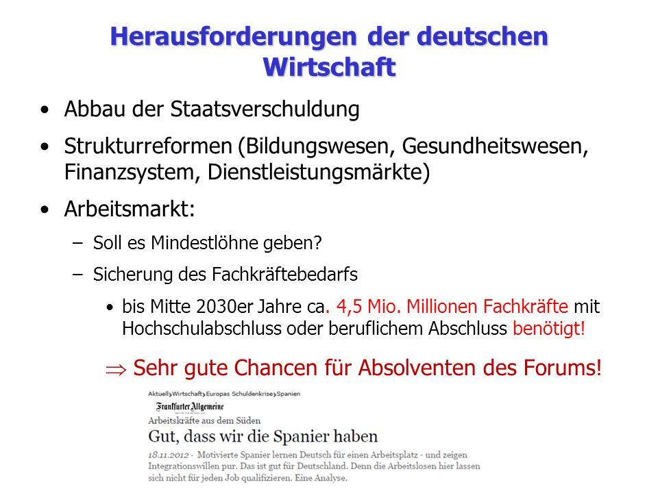 Herausforderungen der deutschen Wirtschaft Abbau der Staatsverschuldung Strukturreformen (Bildungswesen, Gesundheitswesen, Finanzsystem, Dienstleistun