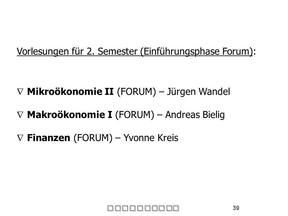 39 Vorlesungen für 2. Semester (Einführungsphase Forum): Mikroökonomie II (FORUM) – Jürgen Wandel Makroökonomie I (FORUM) – Andreas Bielig Finanzen (F