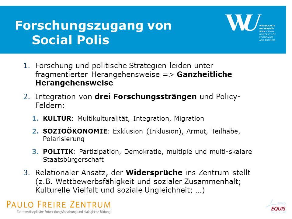 Forschungszugang von Social Polis 1.Forschung und politische Strategien leiden unter fragmentierter Herangehensweise => Ganzheitliche Herangehensweise