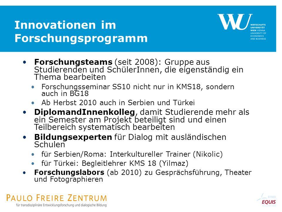 Innovationen im Forschungsprogramm Forschungsteams (seit 2008): Gruppe aus Studierenden und SchülerInnen, die eigenständig ein Thema bearbeiten Forsch