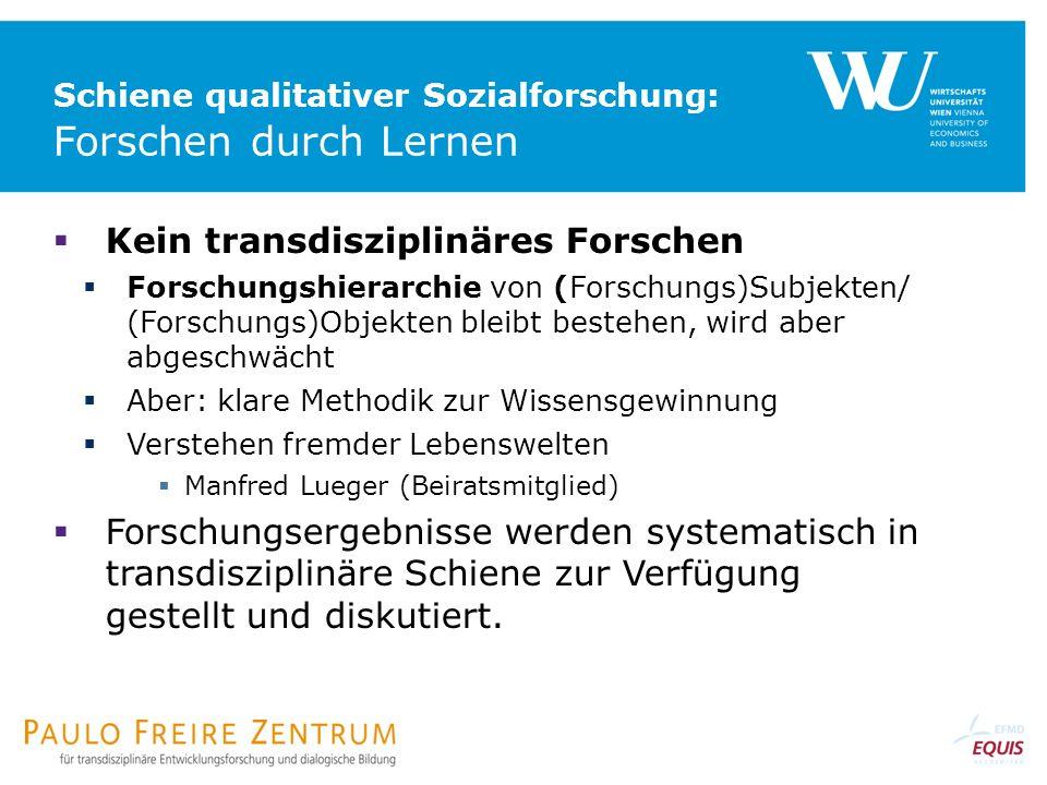 Schiene qualitativer Sozialforschung: Forschen durch Lernen Kein transdisziplinäres Forschen Forschungshierarchie von (Forschungs)Subjekten/ (Forschun