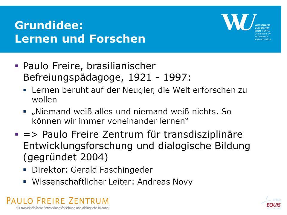Grundidee: Lernen und Forschen Paulo Freire, brasilianischer Befreiungspädagoge, 1921 - 1997: Lernen beruht auf der Neugier, die Welt erforschen zu wollen Niemand weiß alles und niemand weiß nichts.
