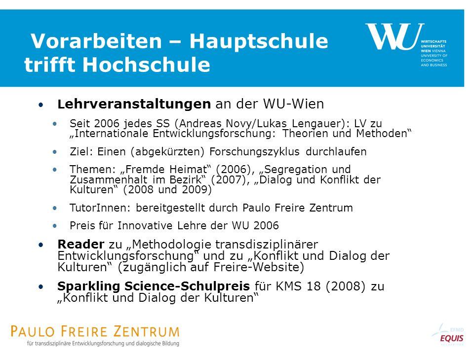 Vorarbeiten – Hauptschule trifft Hochschule L ehrveranstaltungen an der WU-Wien Seit 2006 jedes SS (Andreas Novy/Lukas Lengauer): LV zu Internationale