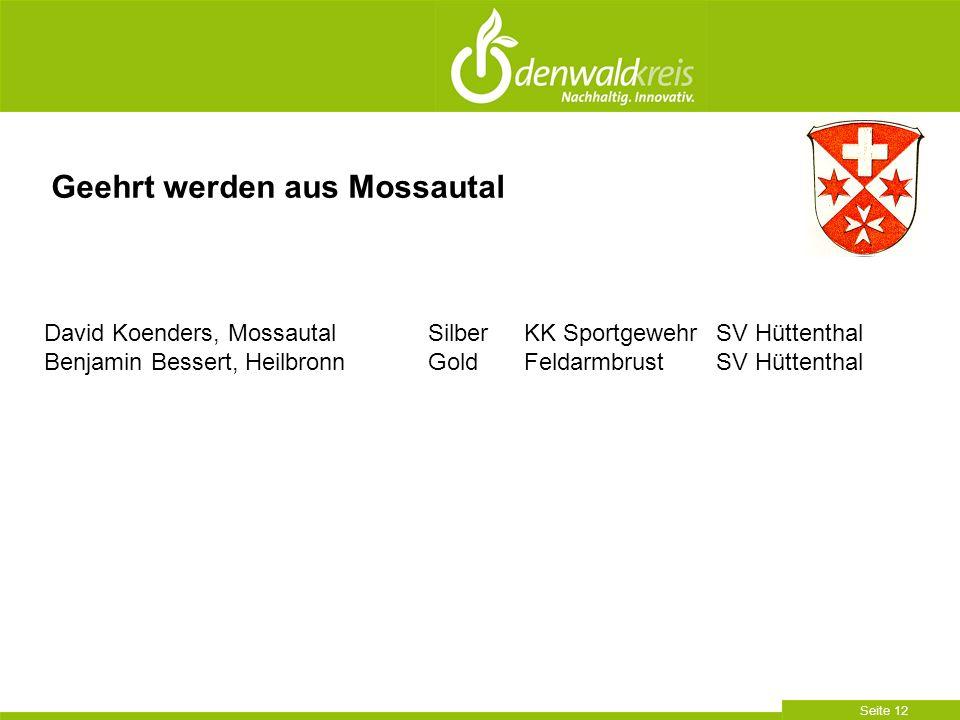Seite 12 Geehrt werden aus Mossautal David Koenders, MossautalSilberKK SportgewehrSV Hüttenthal Benjamin Bessert, HeilbronnGoldFeldarmbrustSV Hüttenthal