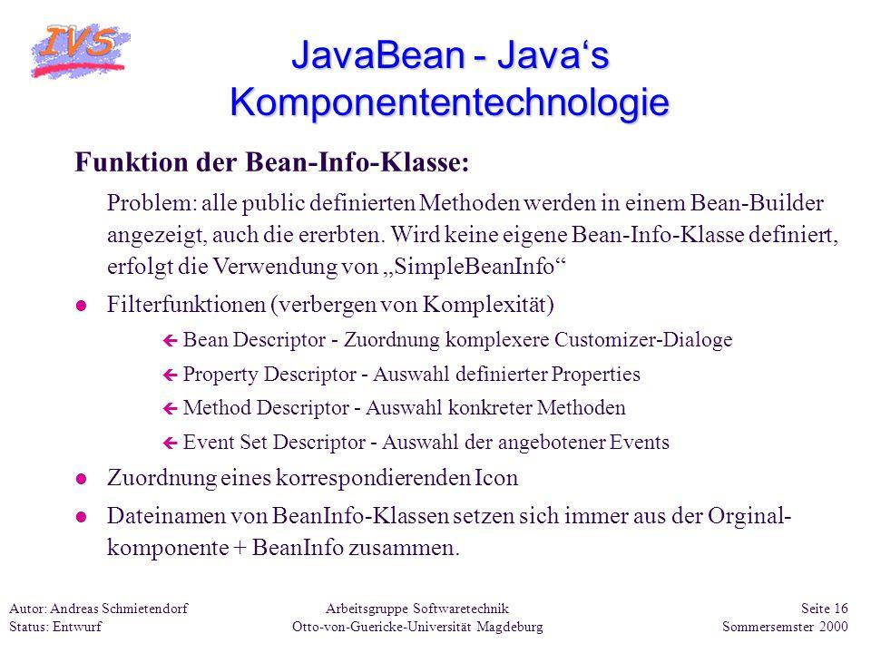 Arbeitsgruppe Softwaretechnik Otto-von-Guericke-Universität Magdeburg Autor: Andreas Schmietendorf Status: Entwurf Seite 16 Sommersemster 2000 JavaBea