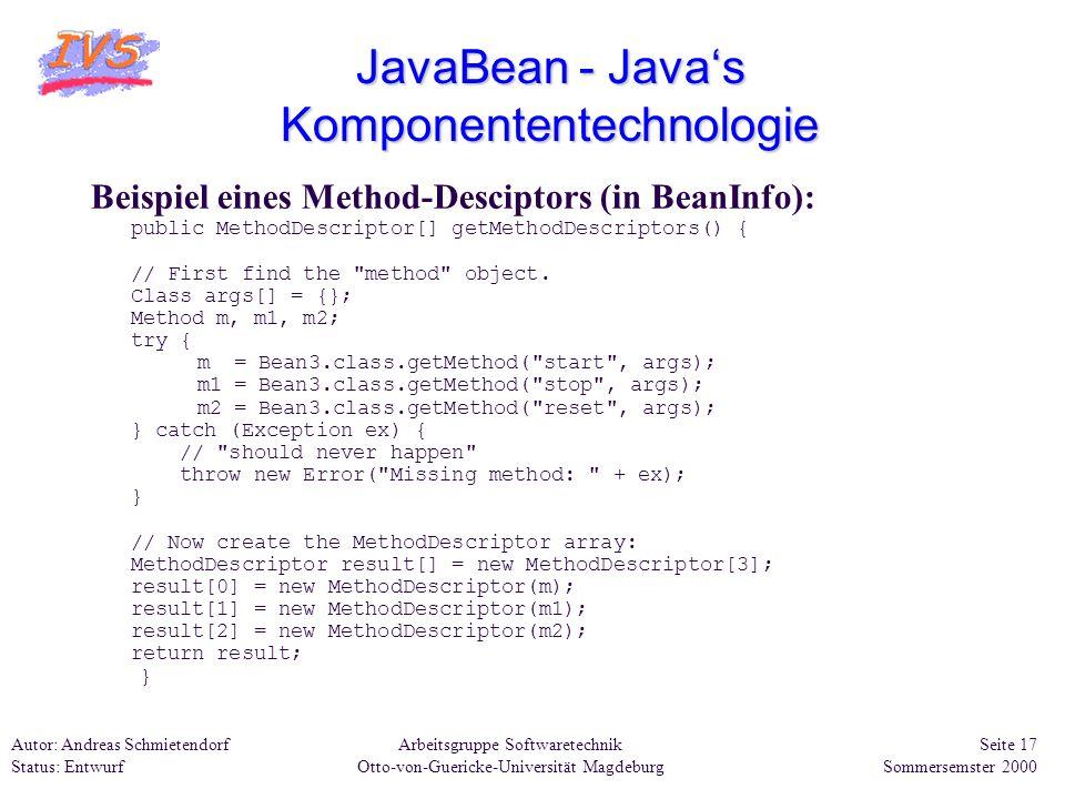 Arbeitsgruppe Softwaretechnik Otto-von-Guericke-Universität Magdeburg Autor: Andreas Schmietendorf Status: Entwurf Seite 17 Sommersemster 2000 JavaBea