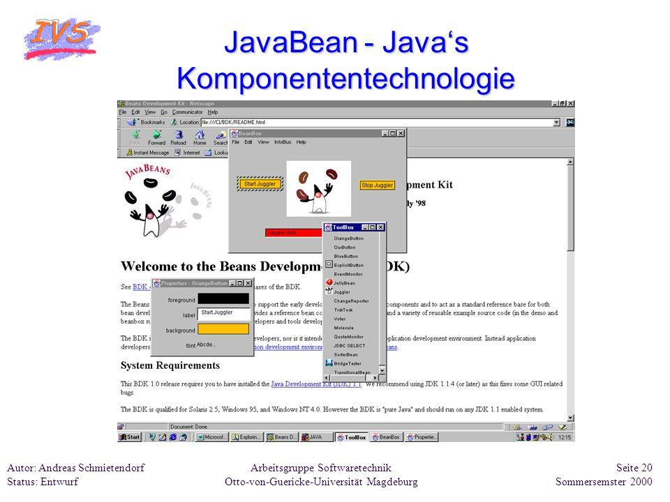 Arbeitsgruppe Softwaretechnik Otto-von-Guericke-Universität Magdeburg Autor: Andreas Schmietendorf Status: Entwurf Seite 20 Sommersemster 2000 JavaBea