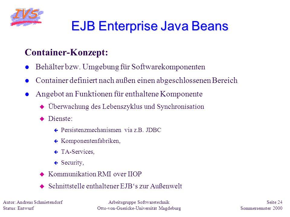Arbeitsgruppe Softwaretechnik Otto-von-Guericke-Universität Magdeburg Autor: Andreas Schmietendorf Status: Entwurf Seite 24 Sommersemster 2000 EJB Ent