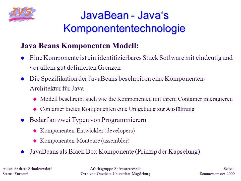 Arbeitsgruppe Softwaretechnik Otto-von-Guericke-Universität Magdeburg Autor: Andreas Schmietendorf Status: Entwurf Seite 5 Sommersemster 2000 JavaBean - Javas Komponententechnologie