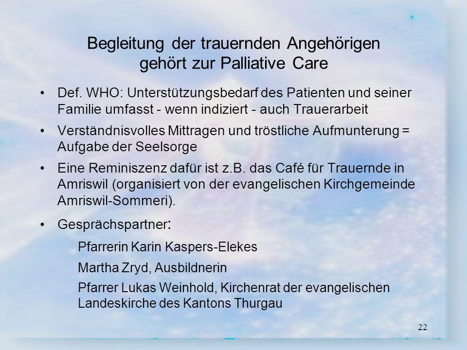 22 Begleitung der trauernden Angehörigen gehört zur Palliative Care Def. WHO: Unterstützungsbedarf des Patienten und seiner Familie umfasst - wenn ind