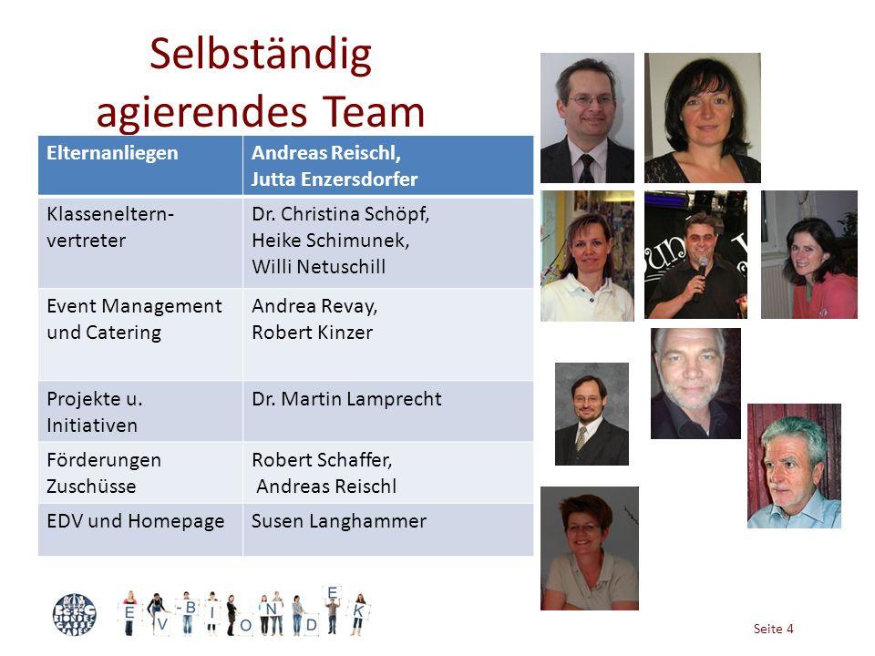 Seite 4 Selbständig agierendes Team ElternanliegenAndreas Reischl, Jutta Enzersdorfer Klasseneltern- vertreter Dr. Christina Schöpf, Heike Schimunek,