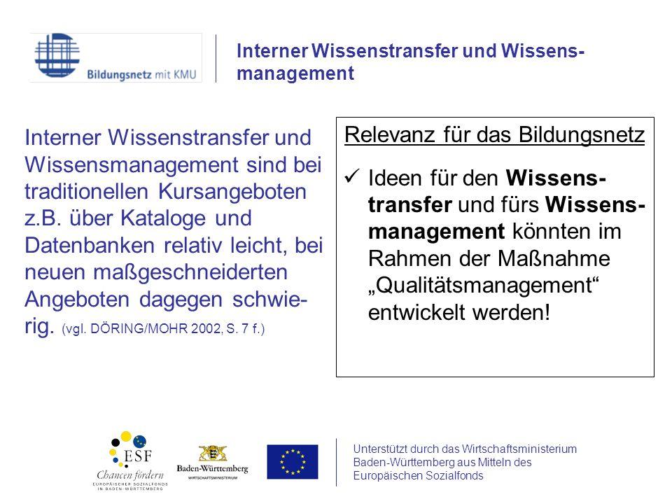 Unterstützt durch das Wirtschaftsministerium Baden-Württemberg aus Mitteln des Europäischen Sozialfonds Interner Wissenstransfer und Wissensmanagement sind bei traditionellen Kursangeboten z.B.