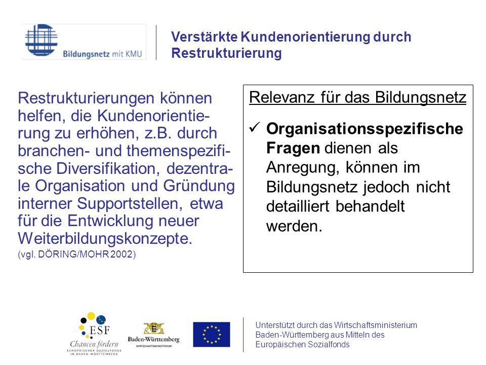 Unterstützt durch das Wirtschaftsministerium Baden-Württemberg aus Mitteln des Europäischen Sozialfonds Restrukturierungen können helfen, die Kundenor