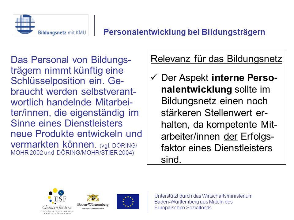 Unterstützt durch das Wirtschaftsministerium Baden-Württemberg aus Mitteln des Europäischen Sozialfonds Das Personal von Bildungs- trägern nimmt künft