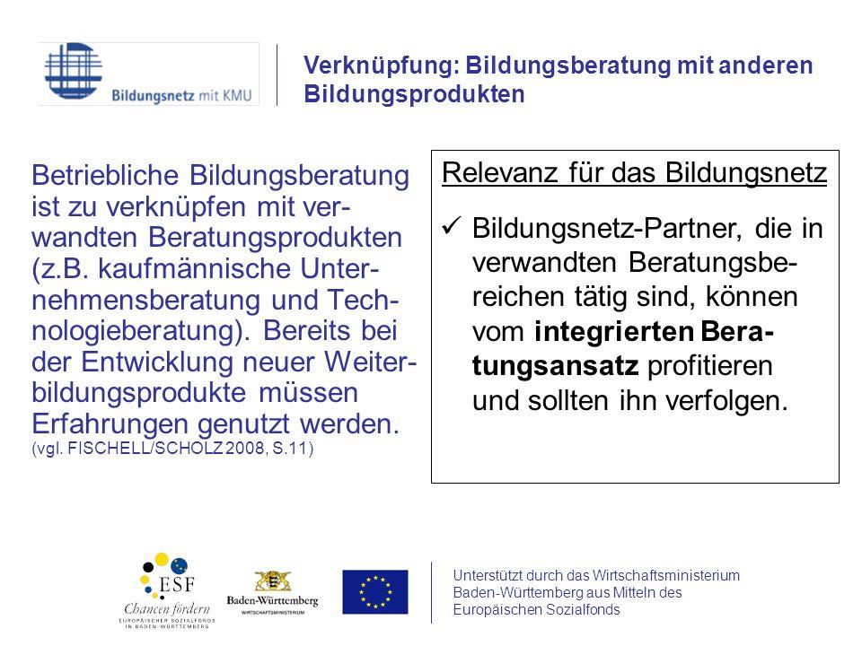 Unterstützt durch das Wirtschaftsministerium Baden-Württemberg aus Mitteln des Europäischen Sozialfonds Betriebliche Bildungsberatung ist zu verknüpfe