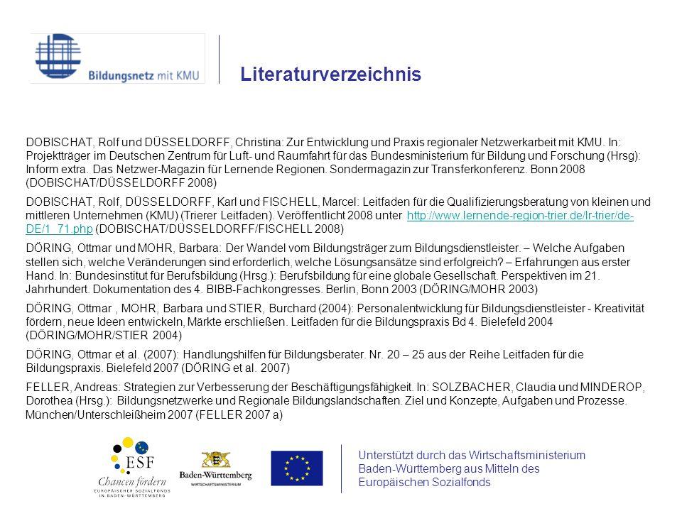 Unterstützt durch das Wirtschaftsministerium Baden-Württemberg aus Mitteln des Europäischen Sozialfonds DOBISCHAT, Rolf und DÜSSELDORFF, Christina: Zur Entwicklung und Praxis regionaler Netzwerkarbeit mit KMU.
