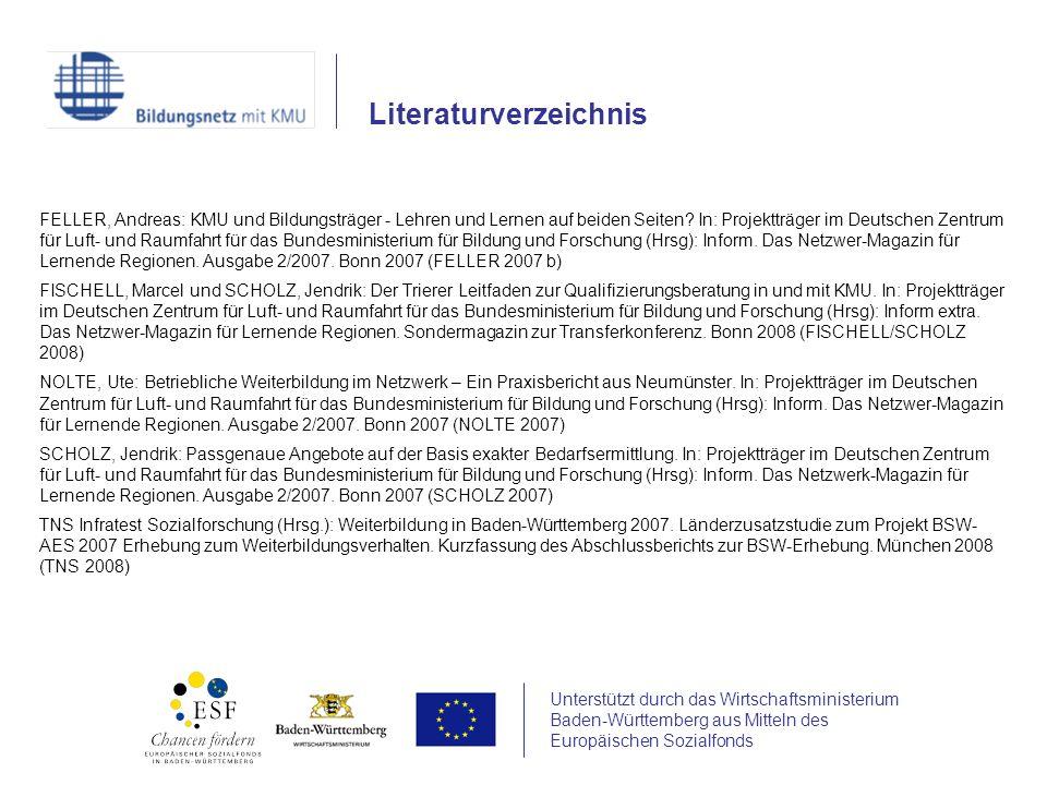 Unterstützt durch das Wirtschaftsministerium Baden-Württemberg aus Mitteln des Europäischen Sozialfonds FELLER, Andreas: KMU und Bildungsträger - Lehr