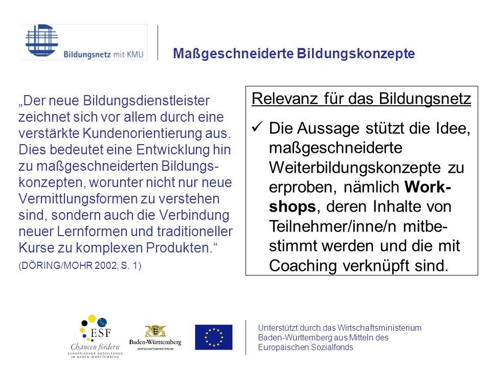 Unterstützt durch das Wirtschaftsministerium Baden-Württemberg aus Mitteln des Europäischen Sozialfonds Für neue Bildungskonzepte muss auch bildungsträgerintern geworben werden.