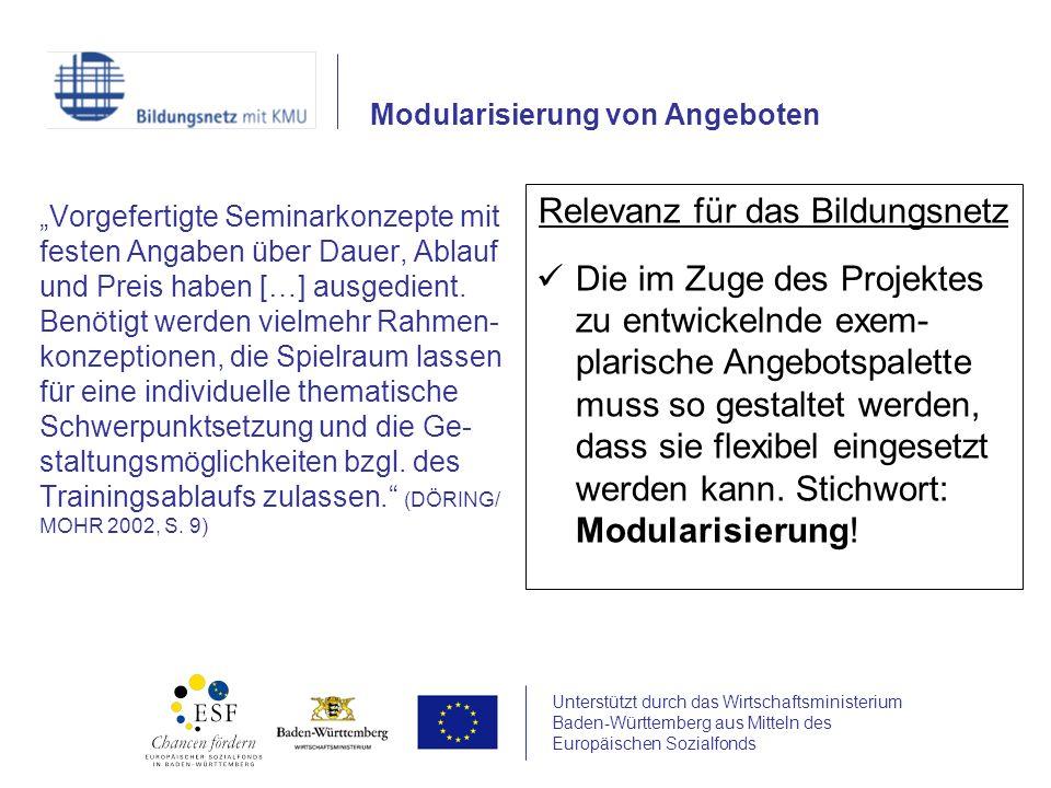 Unterstützt durch das Wirtschaftsministerium Baden-Württemberg aus Mitteln des Europäischen Sozialfonds Vorgefertigte Seminarkonzepte mit festen Angab