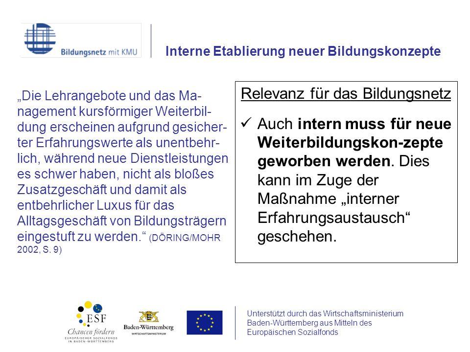 Unterstützt durch das Wirtschaftsministerium Baden-Württemberg aus Mitteln des Europäischen Sozialfonds Relevanz für das Bildungsnetz Auch intern muss für neue Weiterbildungskon-zepte geworben werden.