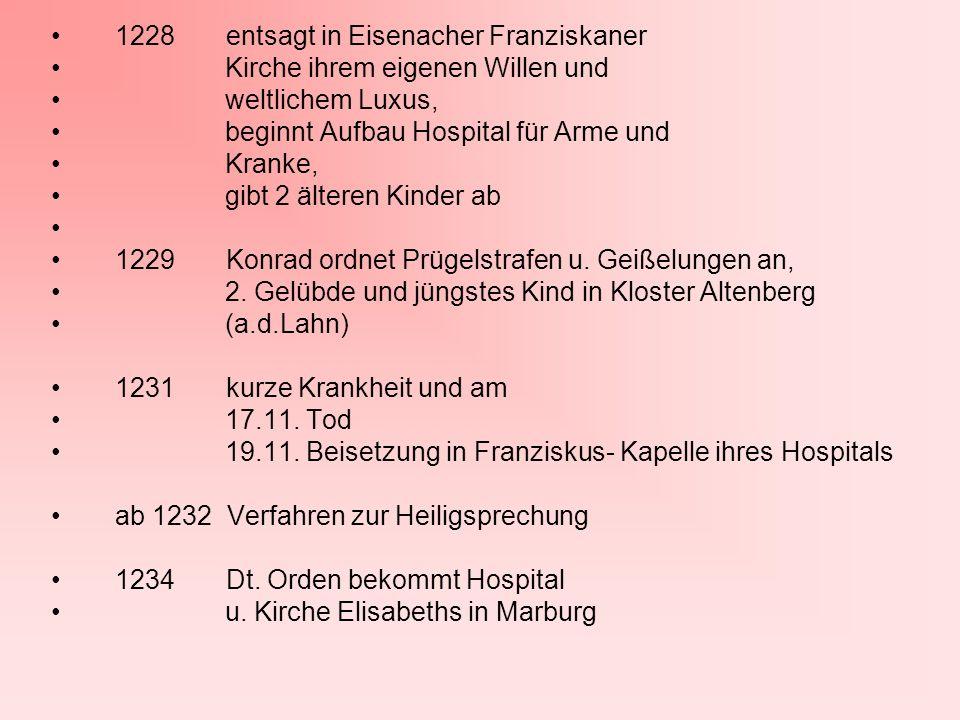1228 entsagt in Eisenacher Franziskaner Kirche ihrem eigenen Willen und weltlichem Luxus, beginnt Aufbau Hospital für Arme und Kranke, gibt 2 älteren