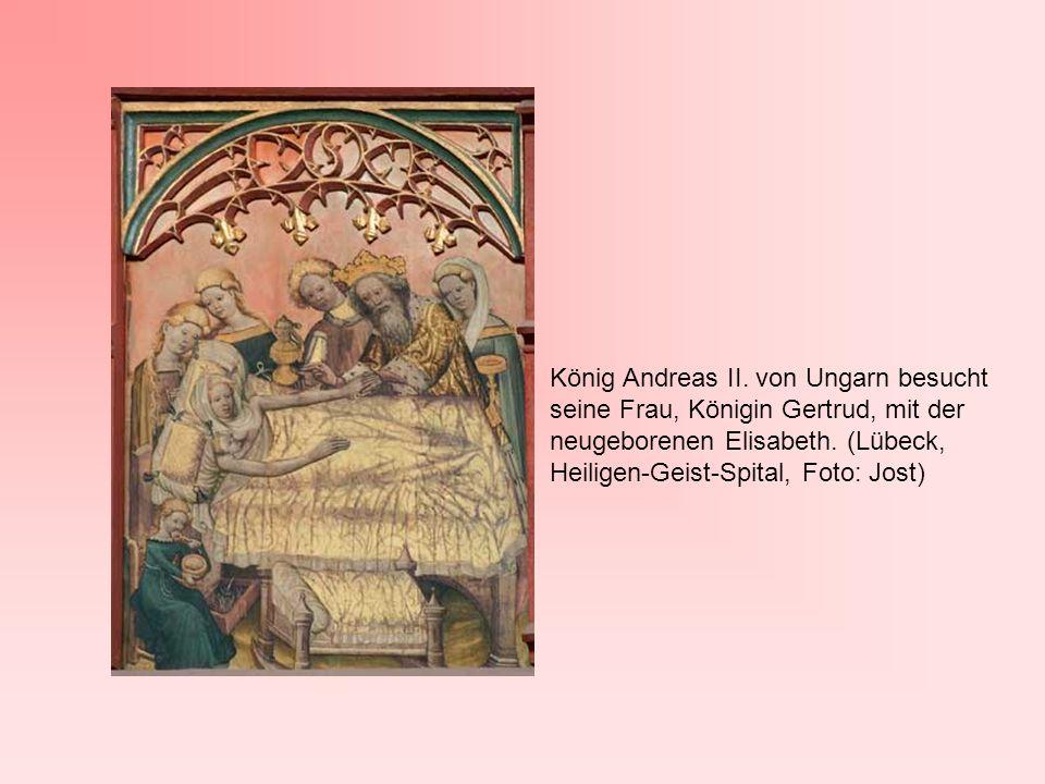 König Andreas II. von Ungarn besucht seine Frau, Königin Gertrud, mit der neugeborenen Elisabeth. (Lübeck, Heiligen-Geist-Spital, Foto: Jost)