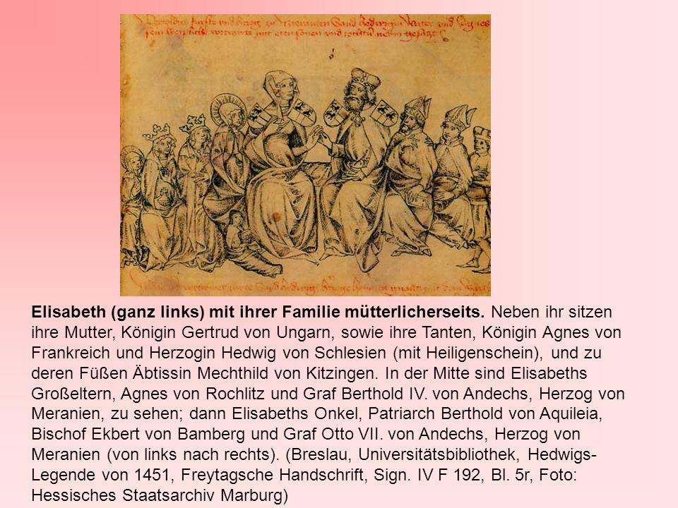 Elisabeth (ganz links) mit ihrer Familie mütterlicherseits. Neben ihr sitzen ihre Mutter, Königin Gertrud von Ungarn, sowie ihre Tanten, Königin Agnes