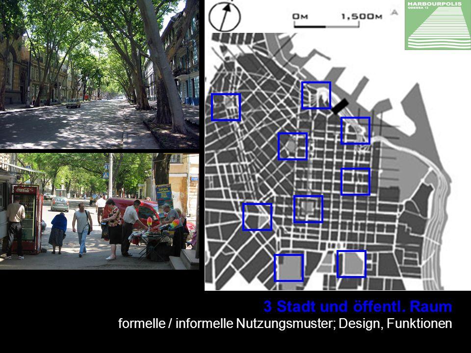 3 Stadt und öffentl. Raum formelle / informelle Nutzungsmuster; Design, Funktionen ENTWERFEN