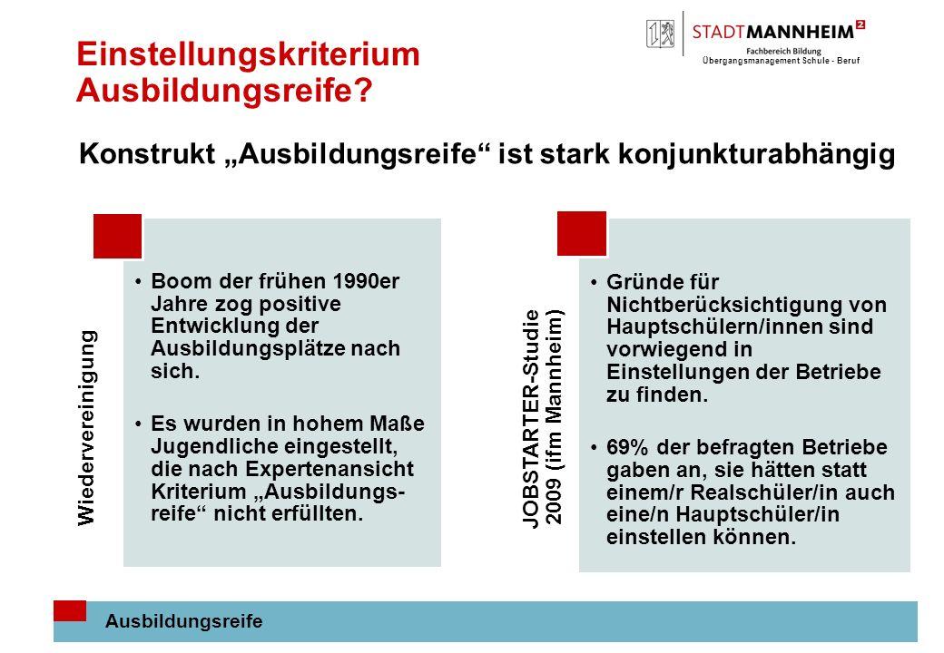 Übergangsmanagement Schule - Beruf 11 Einstellungskriterium Ausbildungsreife.