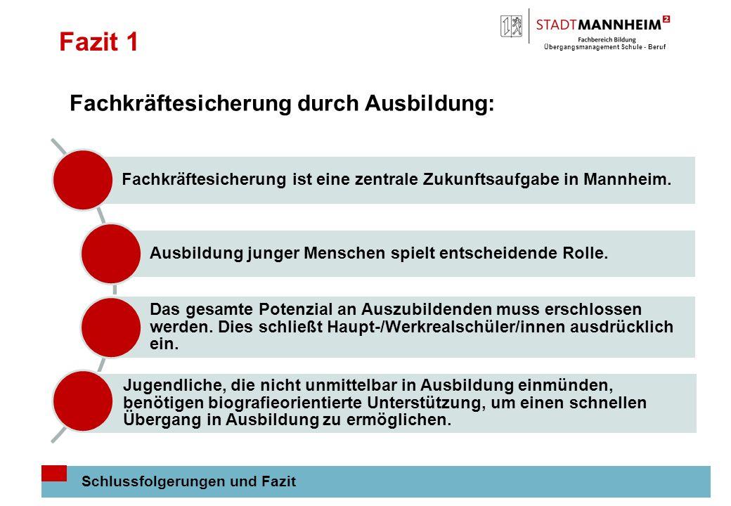 Übergangsmanagement Schule - Beruf 12 Fazit 1 Schlussfolgerungen und Fazit Fachkräftesicherung ist eine zentrale Zukunftsaufgabe in Mannheim. Ausbildu