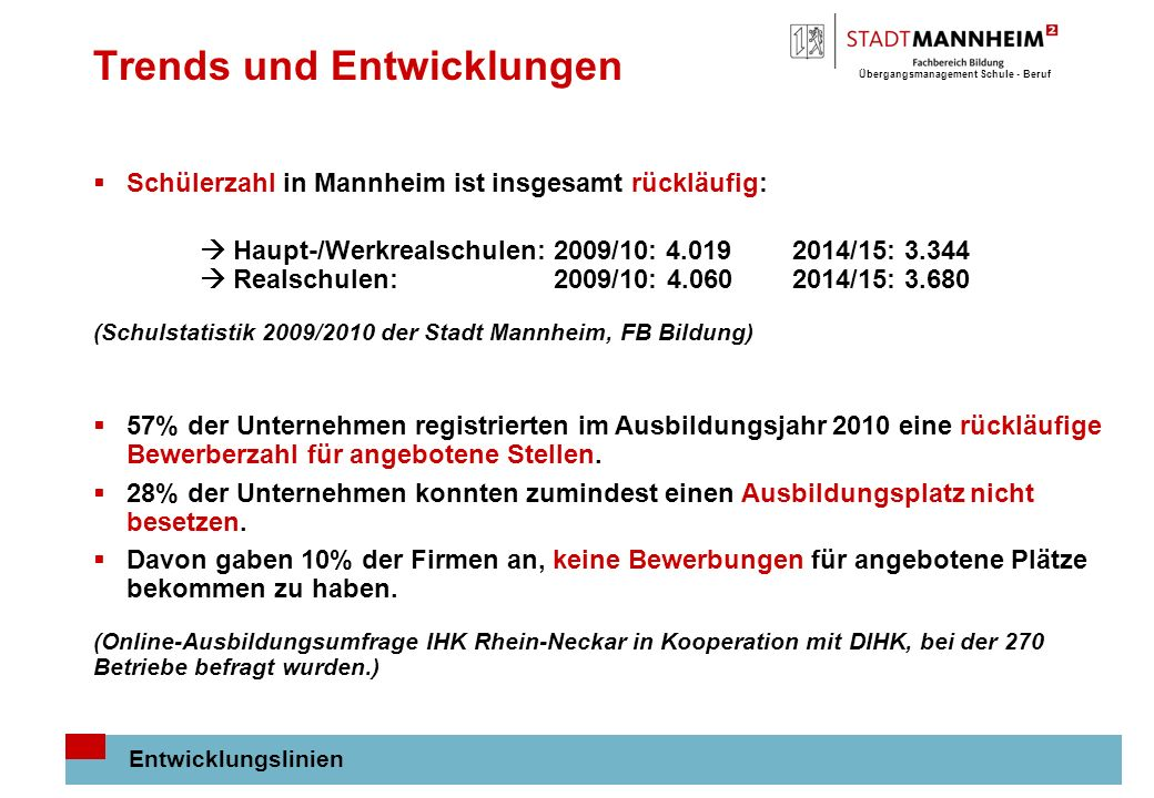 Übergangsmanagement Schule - Beruf 2 Trends und Entwicklungen Entwicklungslinien Schülerzahl in Mannheim ist insgesamt rückläufig: Haupt-/Werkrealschulen: 2009/10: 4.019 2014/15: 3.344 Realschulen: 2009/10: 4.060 2014/15: 3.680 (Schulstatistik 2009/2010 der Stadt Mannheim, FB Bildung) 57% der Unternehmen registrierten im Ausbildungsjahr 2010 eine rückläufige Bewerberzahl für angebotene Stellen.