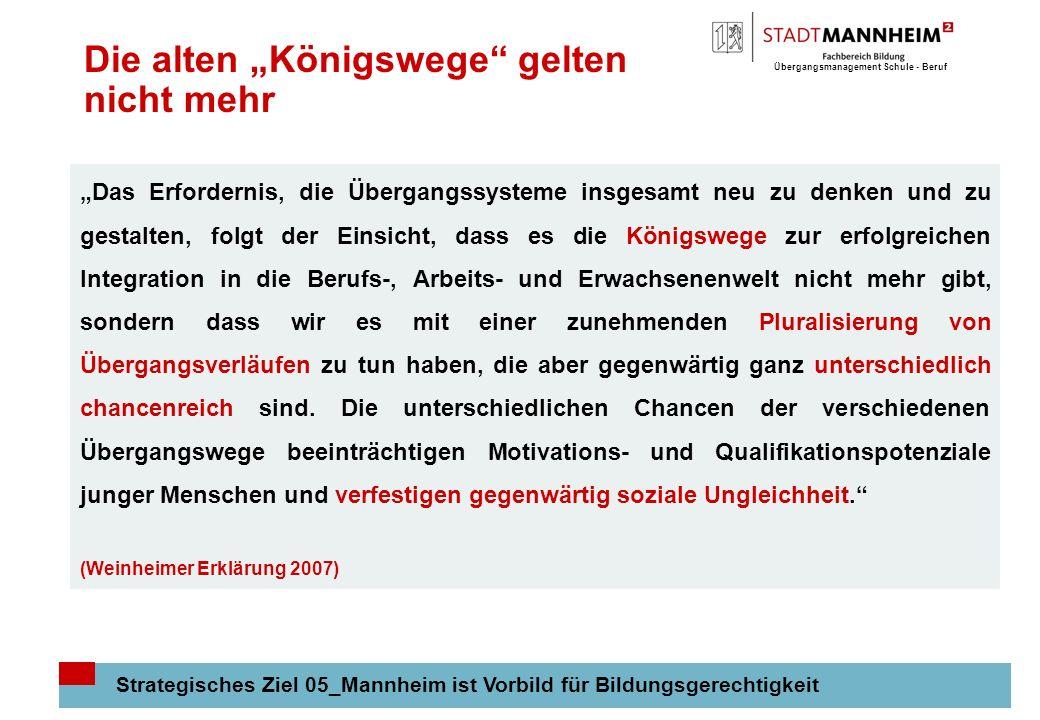 Übergangsmanagement Schule - Beruf 4 Die alten Königswege gelten nicht mehr Strategisches Ziel 05_Mannheim ist Vorbild für Bildungsgerechtigkeit Das E