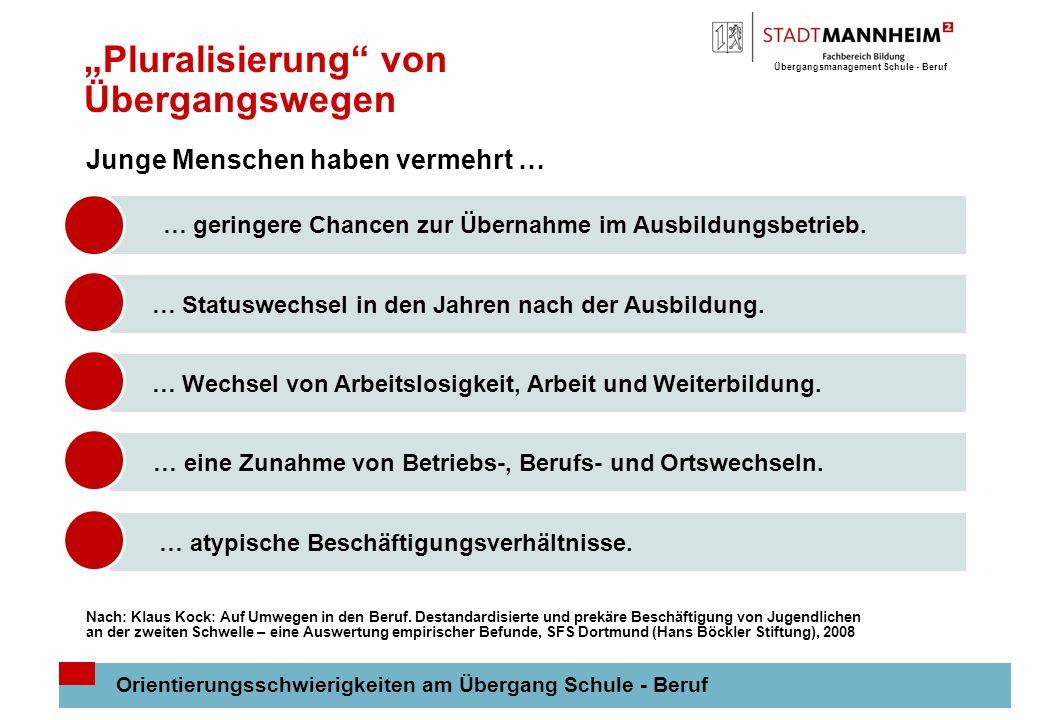 Übergangsmanagement Schule - Beruf 7 Ausbildungsmarktsituation in Mannheim Ausbildungsmarktsituation: Großstädte Positive Entwicklung auf dem Ausbildungsstellenmarkt geht an Bewerbern/innen in Großstädten vorbei: Anteil an Migranten/innen unter den Jugendlichen ist besonders hoch.