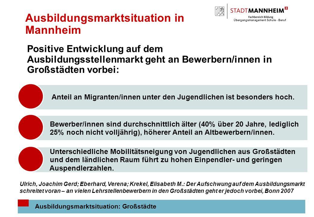 Übergangsmanagement Schule - Beruf 9 Ausbildungsmarktsituation in Mannheim Ausbildungsmarktsituation: Großstädte Positive Entwicklung auf dem Ausbildungsstellenmarkt geht an Bewerbern/innen in Großstädten vorbei: Anteil an Migranten/innen unter den Jugendlichen ist besonders hoch.