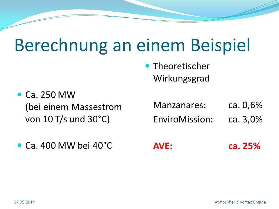 Berechnung an einem Beispiel Ca.250 MW (bei einem Massestrom von 10 T/s und 30°C) Ca.